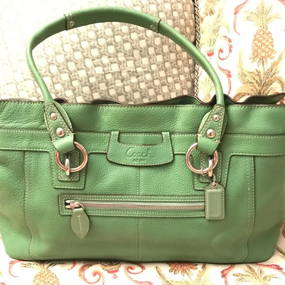 Coach Bags   Kelly Park Green Leather Large Purse F14682   Poshmark be727e01d5